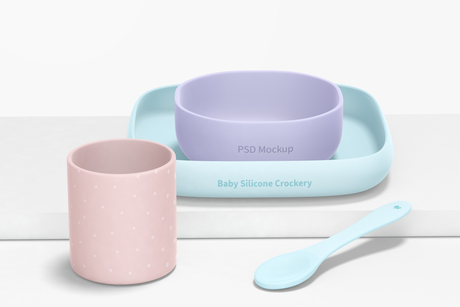 Baby Silicone Crockery Kit Mockup, Front View