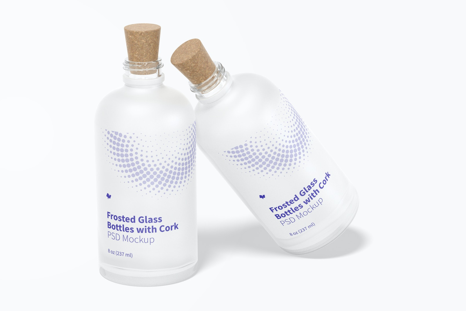 Frosted Glass Bottles with Cork Mockup