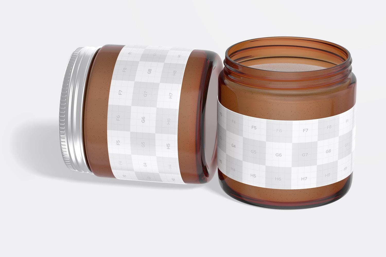 Amber Jars with Metallic Cap Mockup