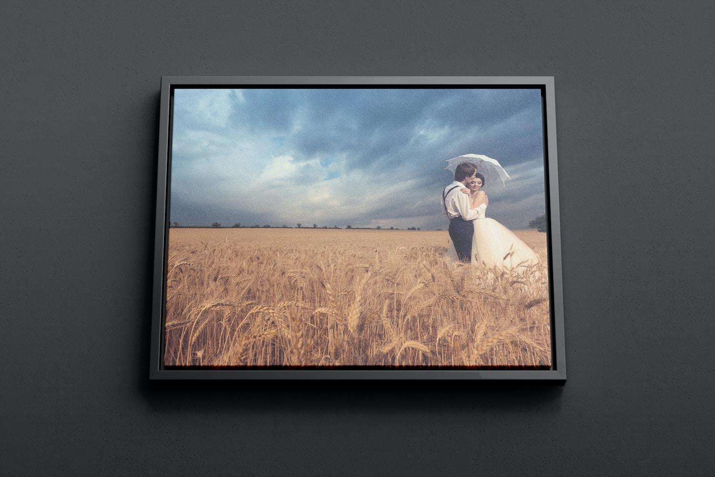 9:7 Landscape Canvas Mockup in Floater Frame, Bottom Front View