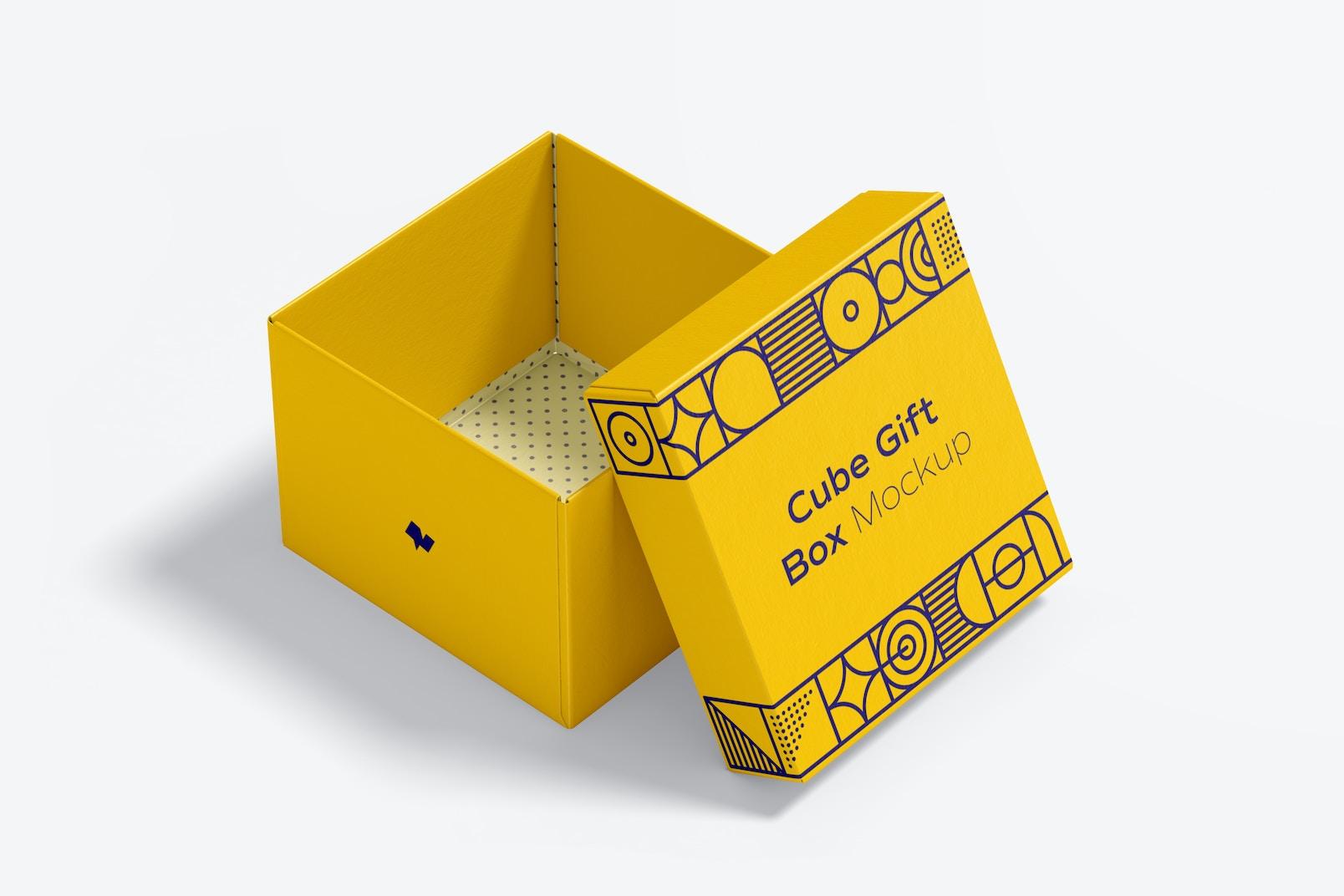 Cube Gift Box Mockup, Open