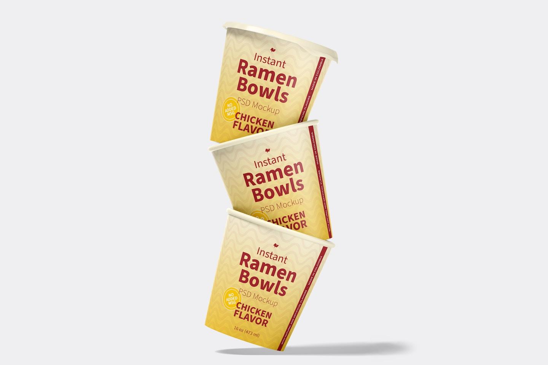 Instant Ramen Bowls Mockup, Stacked Set