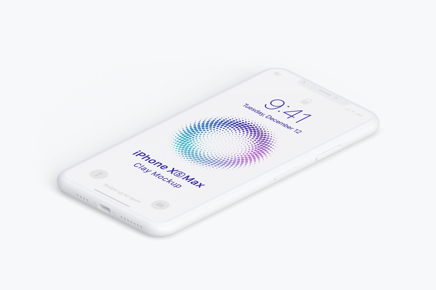 Isometric Clay iPhone Xs Max Mockup, Right View