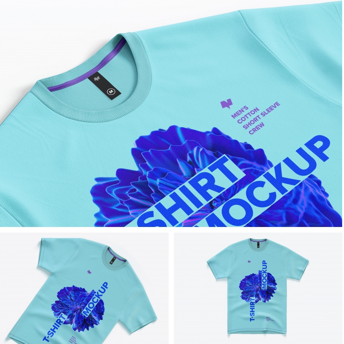 Men's Cotton Short Sleeve Crew T-Shirt Mockups Poster