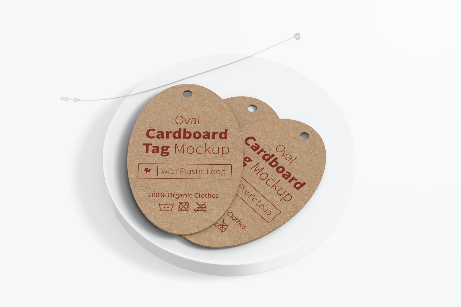 Oval Cardboard Tags with Plastic Loop Mockup, Top View