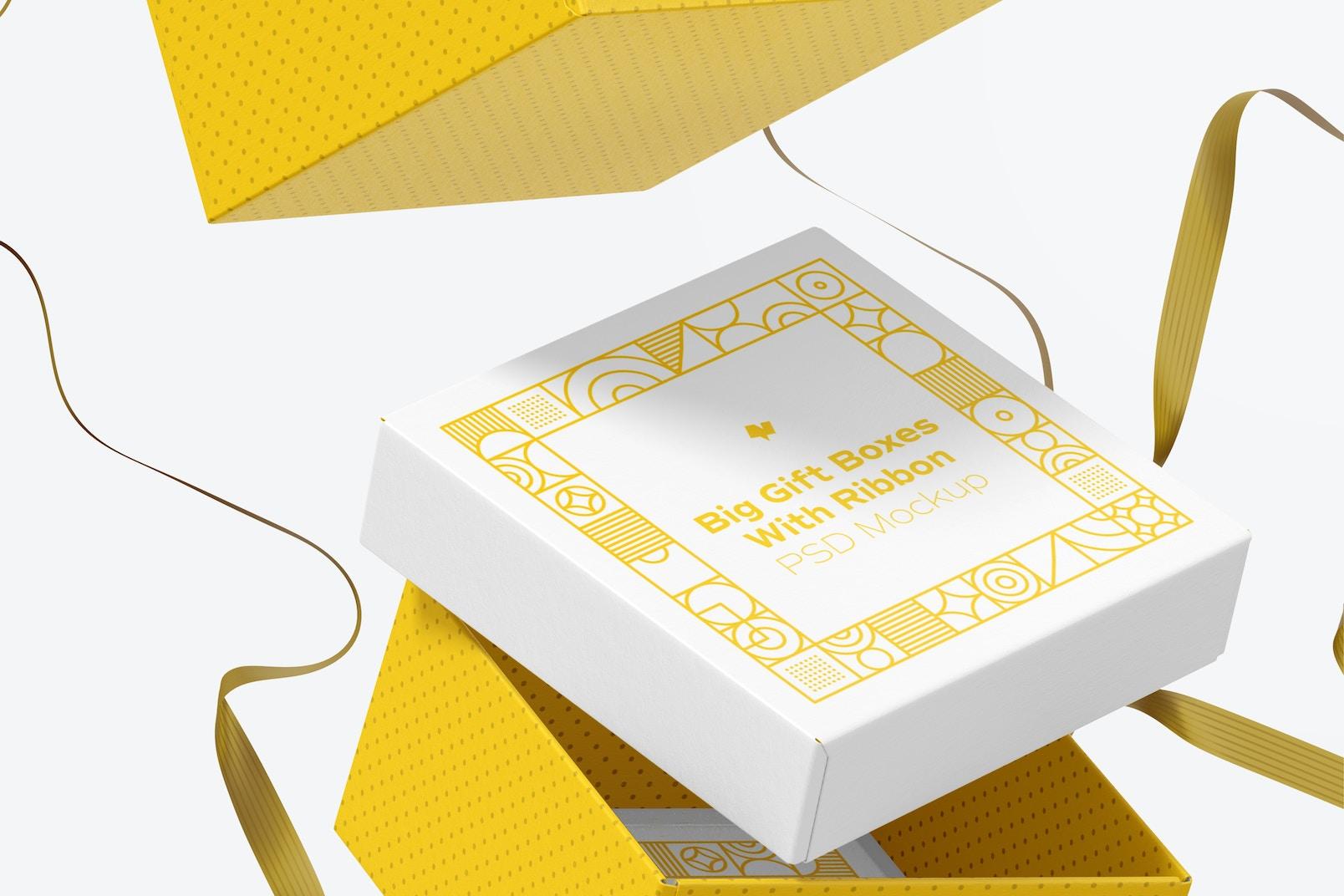 Big Gift Boxes With Ribbon Mockup, Falling