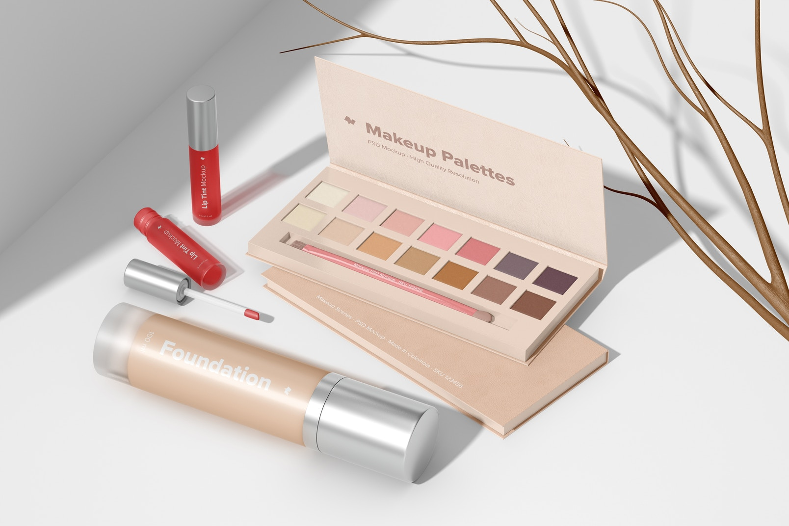 Makeup Palettes Mockup, Perspective View 02