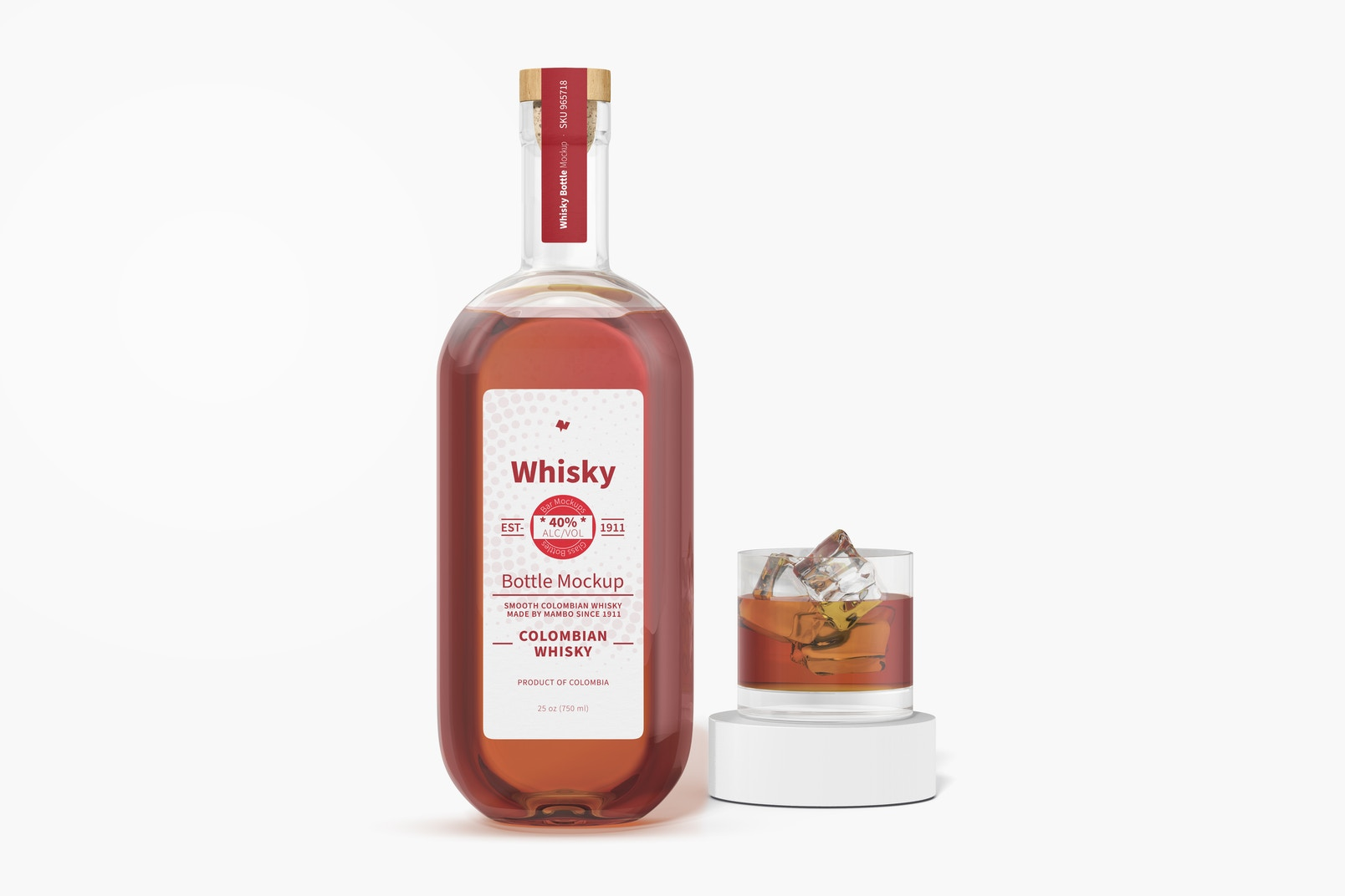 Whisky Bottle with Glass Mockup
