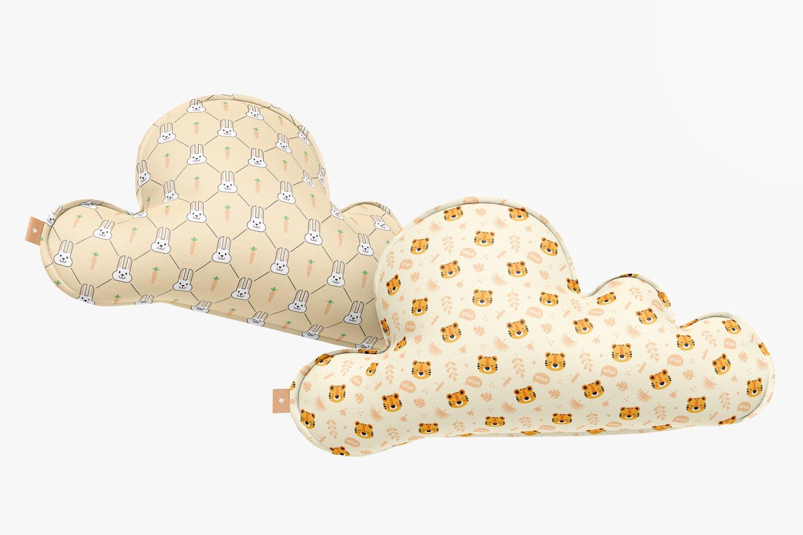 Cloud Pillows Mockup, Floating
