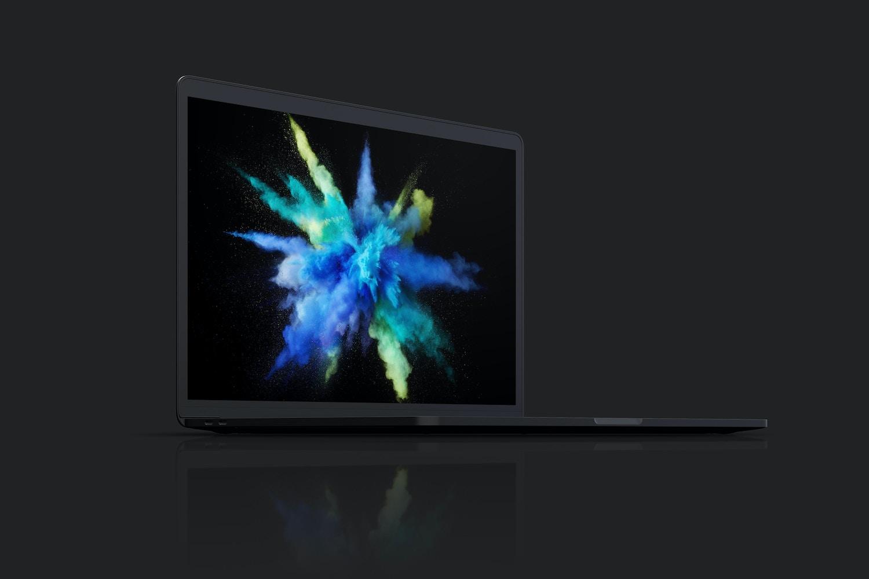 """Maqueta de MacBook Pro de 15"""" con Touch Bar, Vista Frontal Derecha, Multicolor 02 (7) por Original Mockups en Original Mockups"""