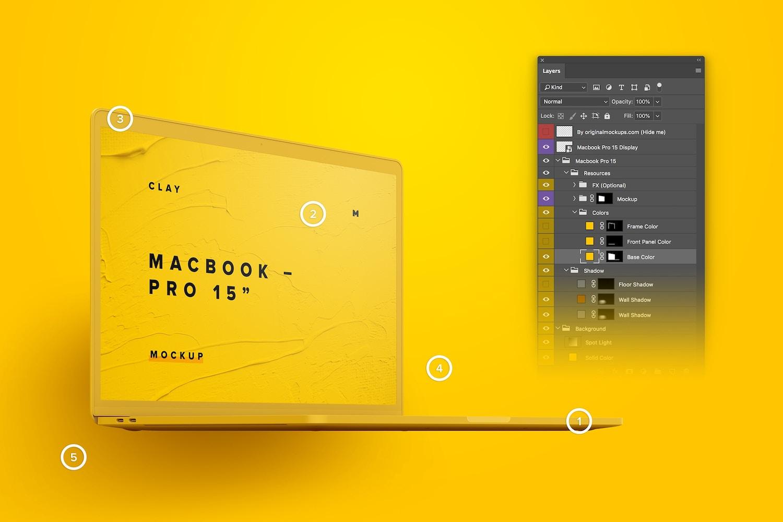 """Maqueta de MacBook Pro de 15"""" con Touch Bar, Vista Frontal Derecha, Multicolor 02 (3) por Original Mockups en Original Mockups"""