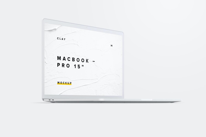 """Maqueta de MacBook Pro de 15"""" con Touch Bar, Vista Frontal Derecha, Multicolor 02 (1) por Original Mockups en Original Mockups"""