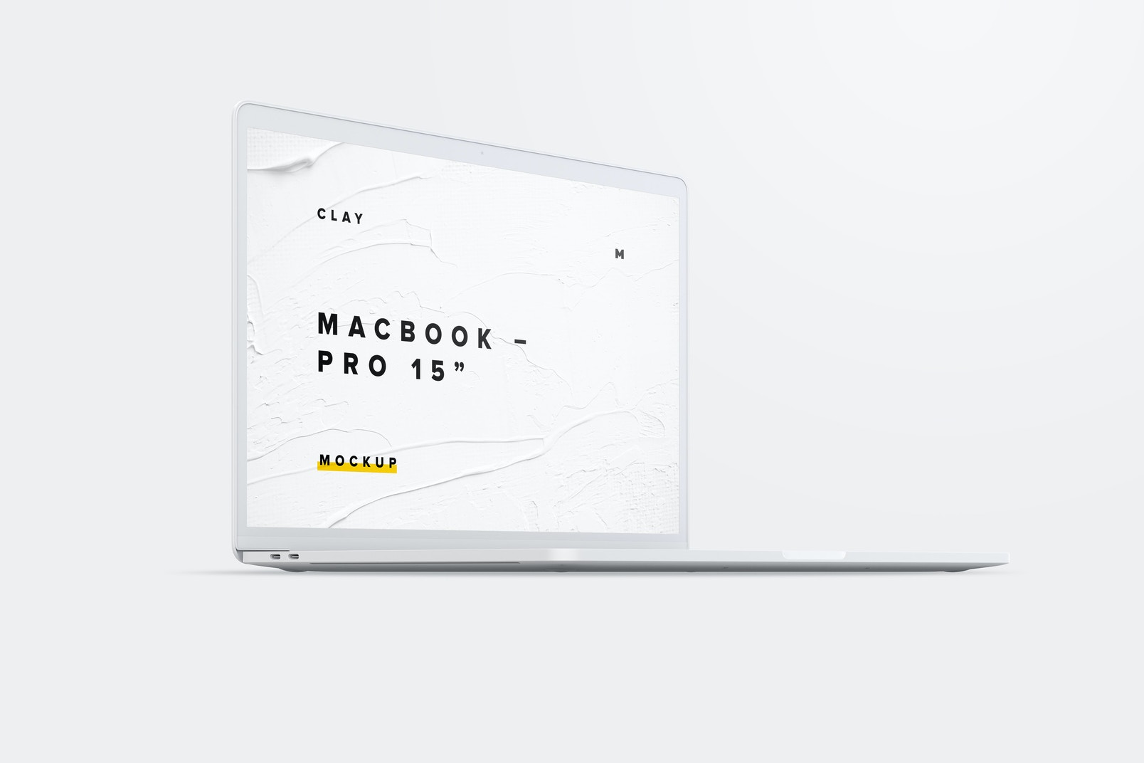 """Clay MacBook Pro 15"""" with Touch Bar, Front Left View Mockup 02"""