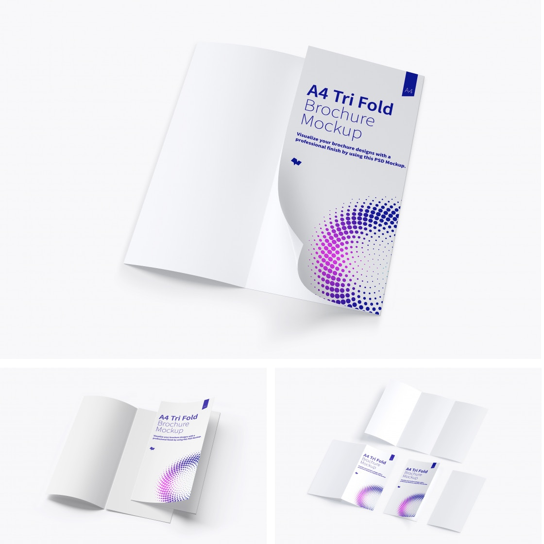 A4 Trifold Brochure Mockups by Original Mockups on Original Mockups