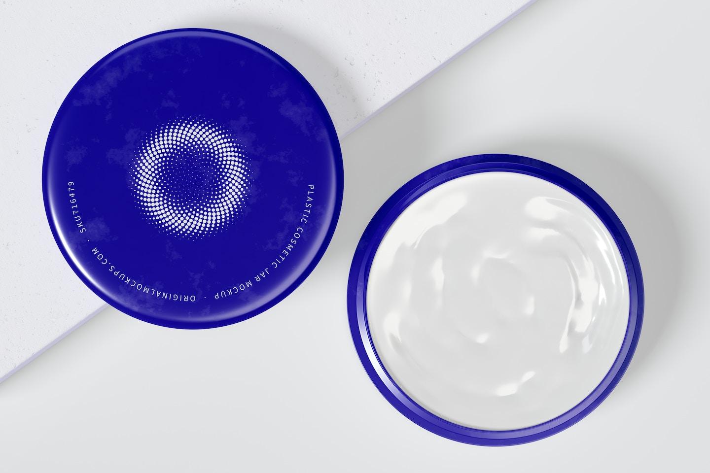 100mm Plastic Cosmetic Jar Mockup Opened, Top View