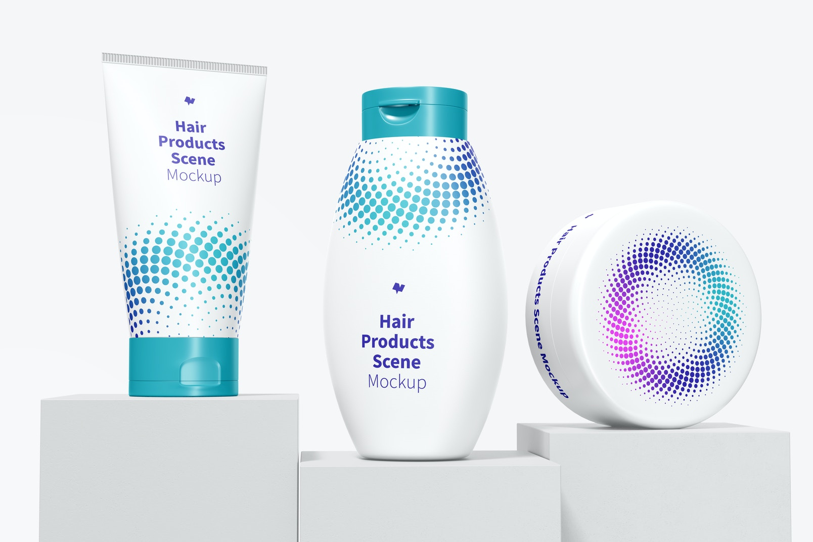 Hair Products Scene Mockup, Front View
