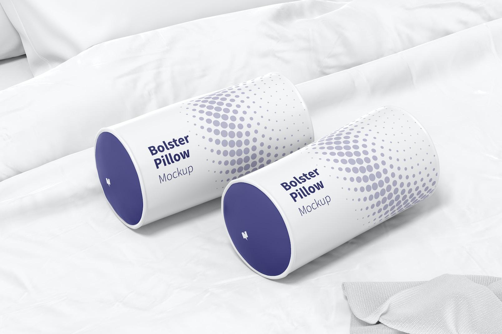Bolster Pillows Mockup, Left View