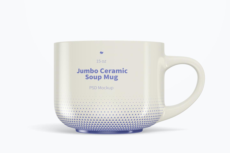 15 oz Jumbo Ceramic Soup Mug Mockup, Front View