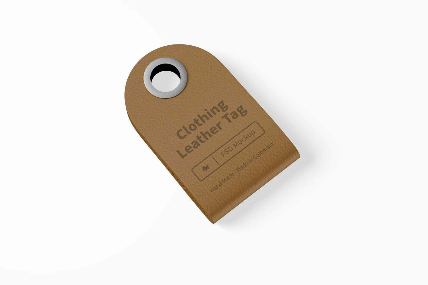 Clothing Leather Tag Mockup, Top View