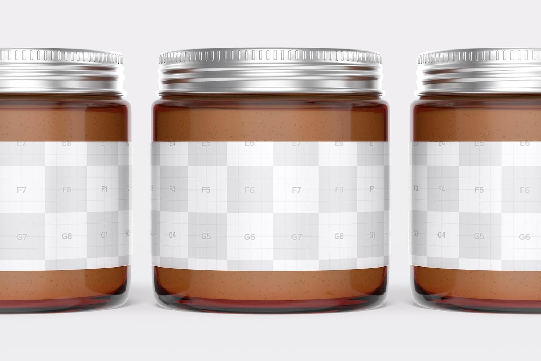 Amber Jars with Metallic Cap Mockup, Close Up