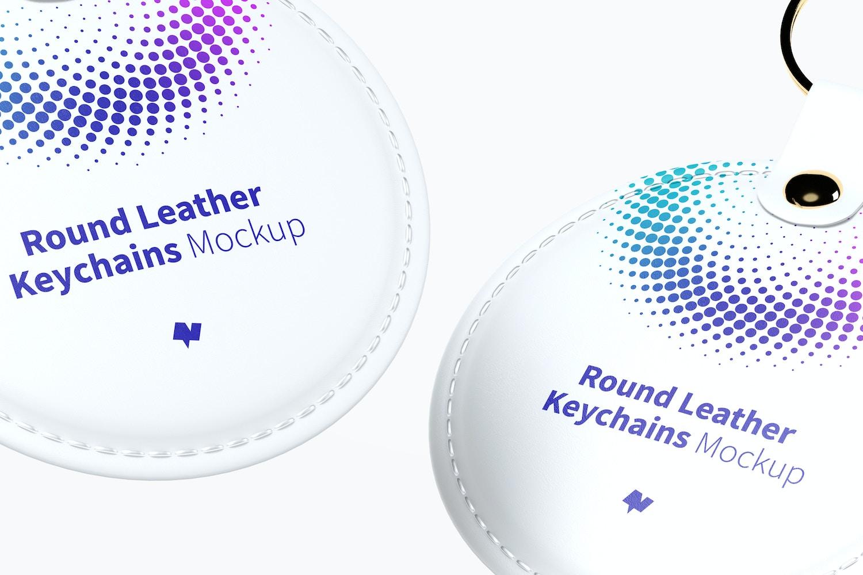 Round Leather Keychains Mockup Floating