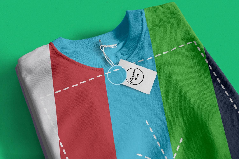 Stack of Folded T-Shirts Mockup 03