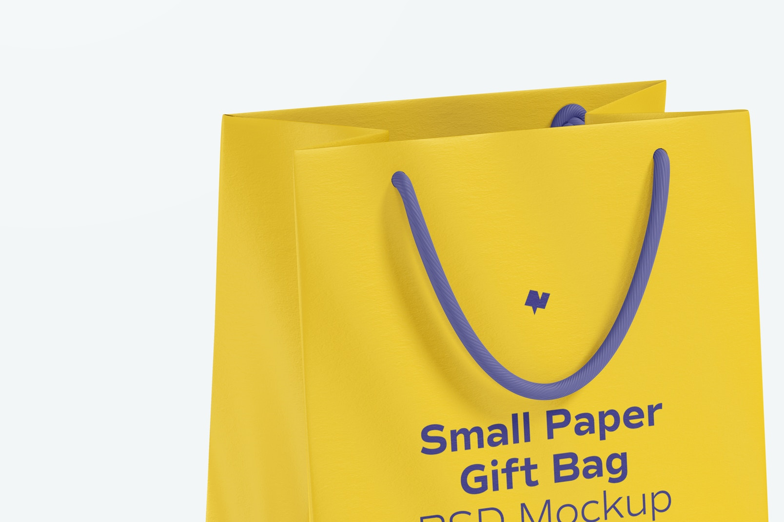 Small Paper Gift Bag With Rope Handle Mockup, Close Up