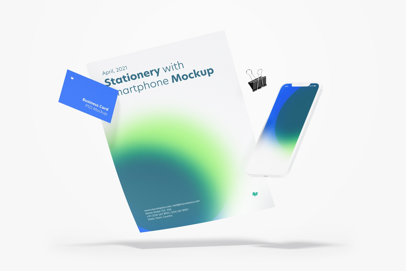 Stationery with Smartphone Mockup, Floating