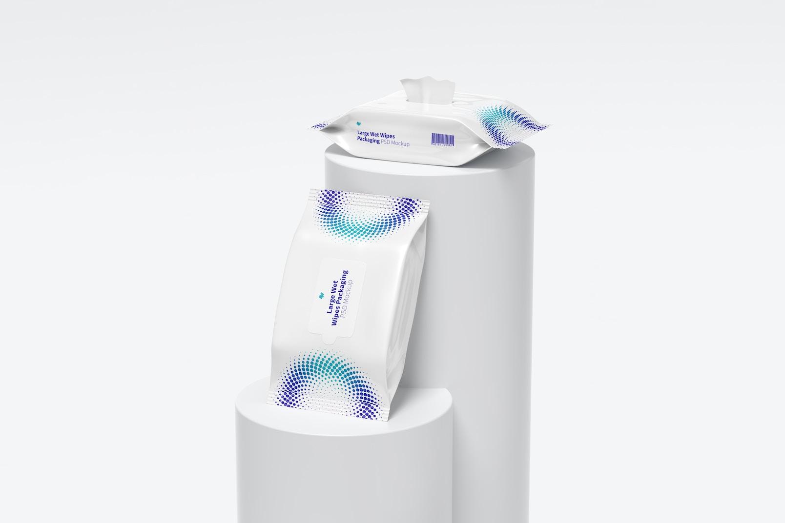 Large Wet Wipes Packaging Mockup