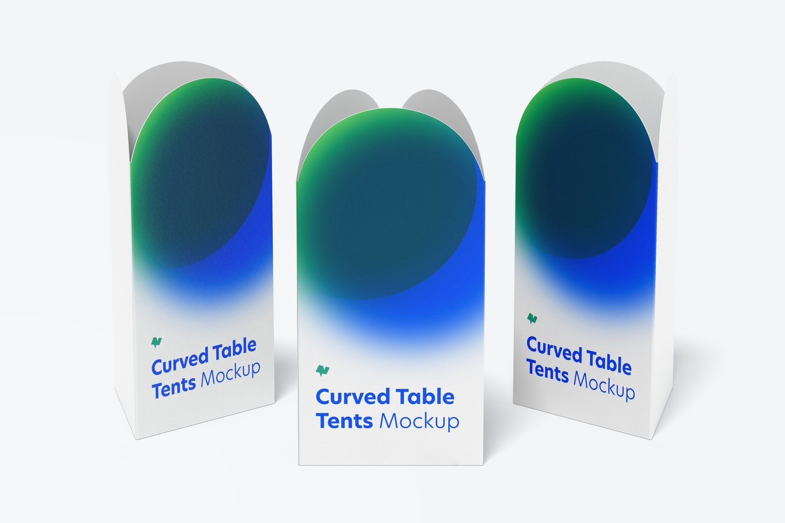 Curved Top Table Tents Set Mockup