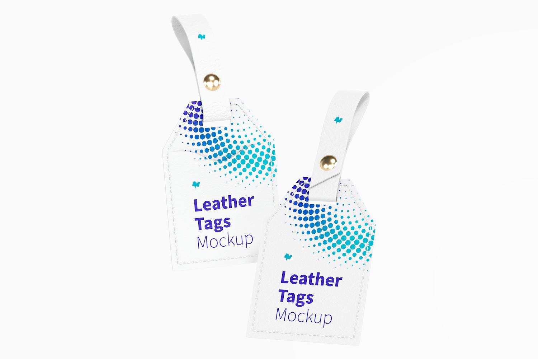 Leather Tags Mockup, Floating