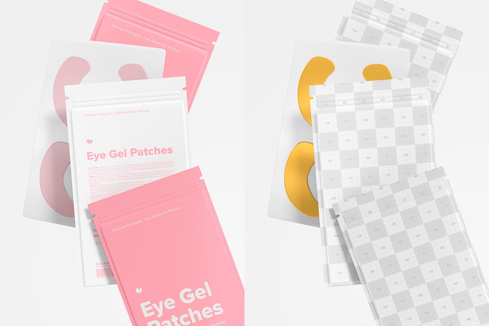 Eye Gel Patches Packaging Set Mockup