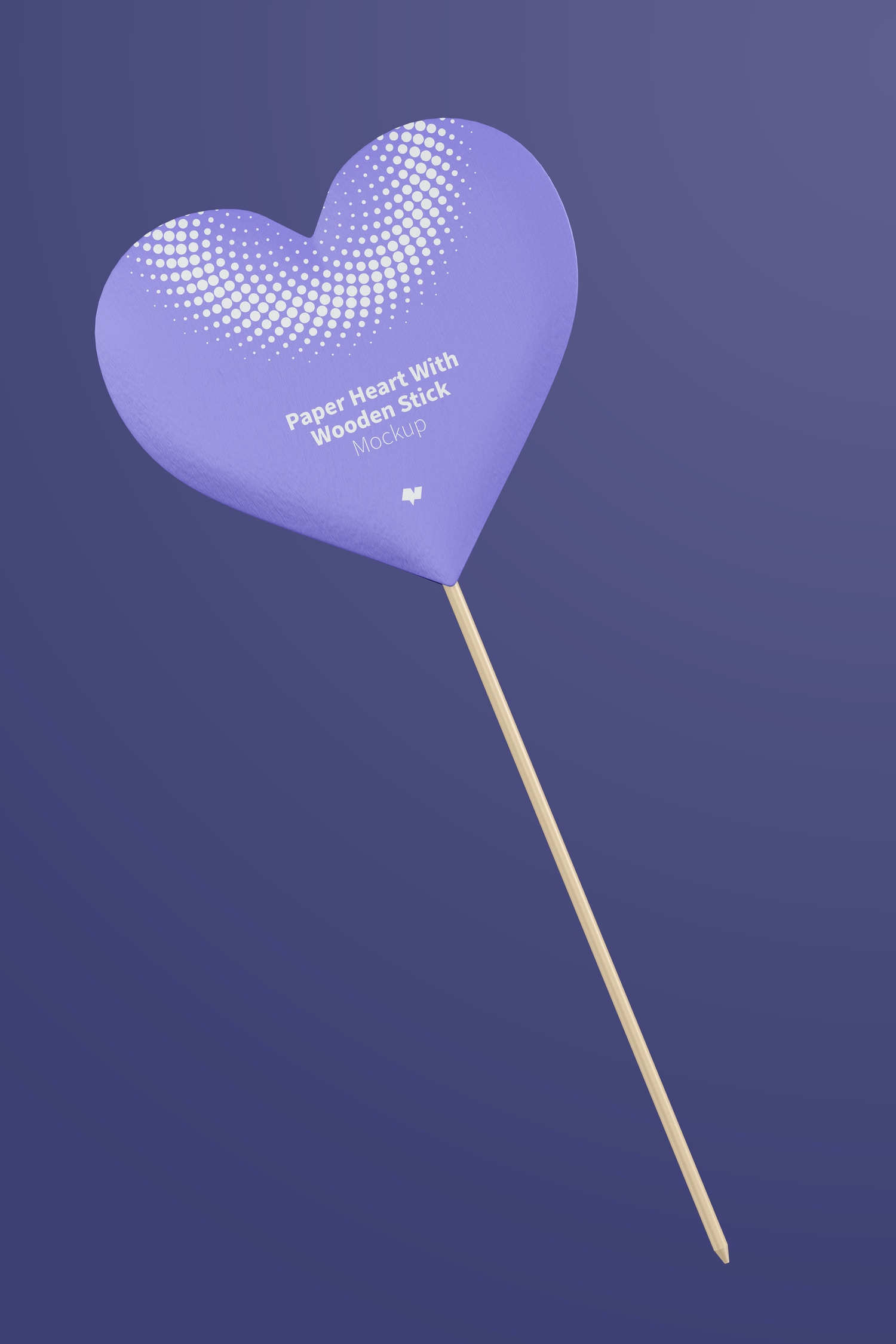 Paper Heart With Wooden Stick Mockup