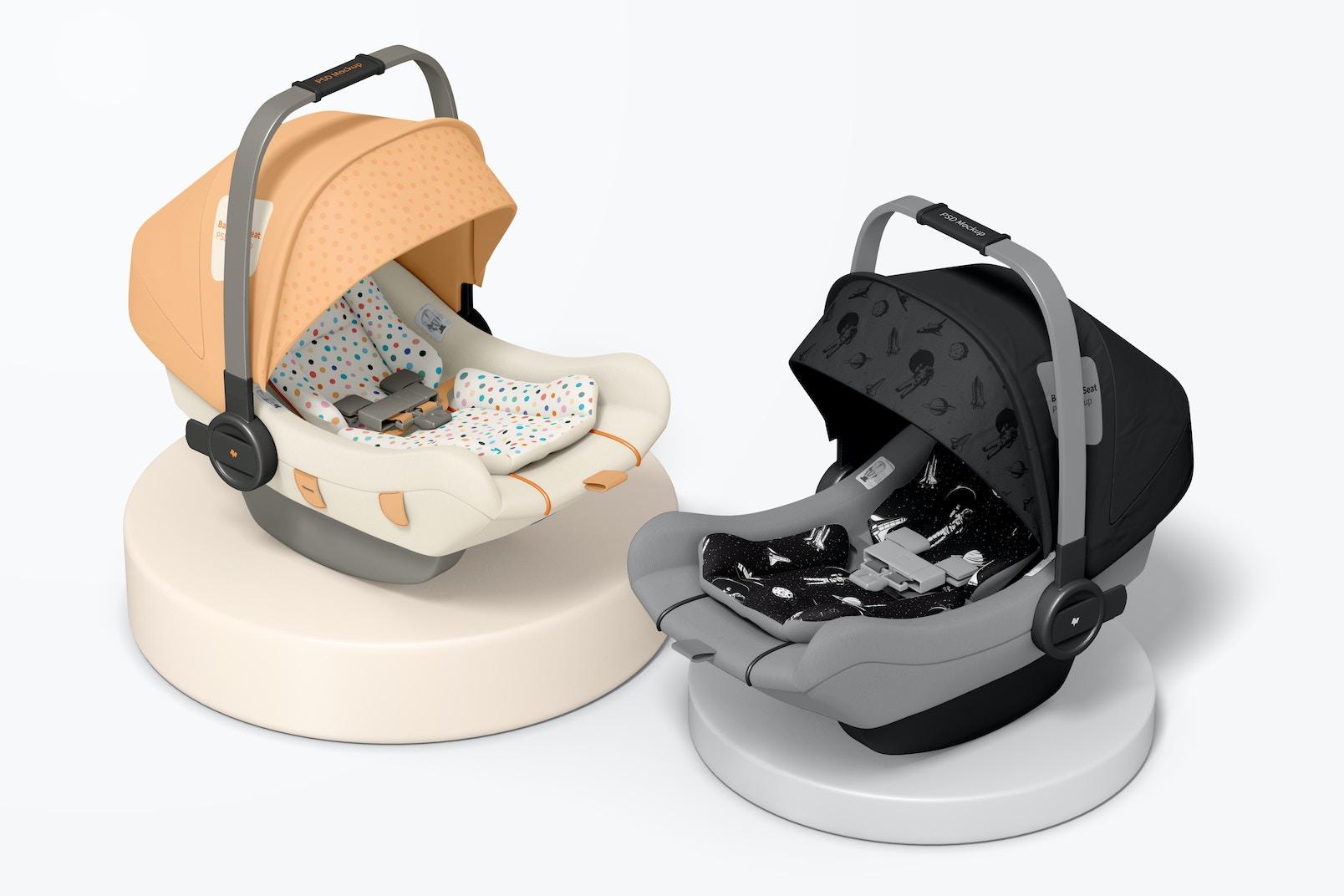 Baby Car Seats Mockup, Top View