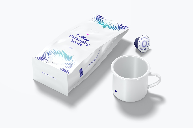 Coffee Packaging Scene Mockup, Top View