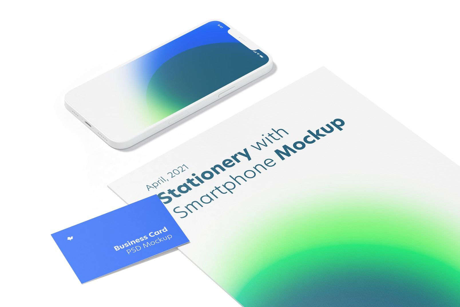 Stationery with Smartphone Mockup, Close-Up