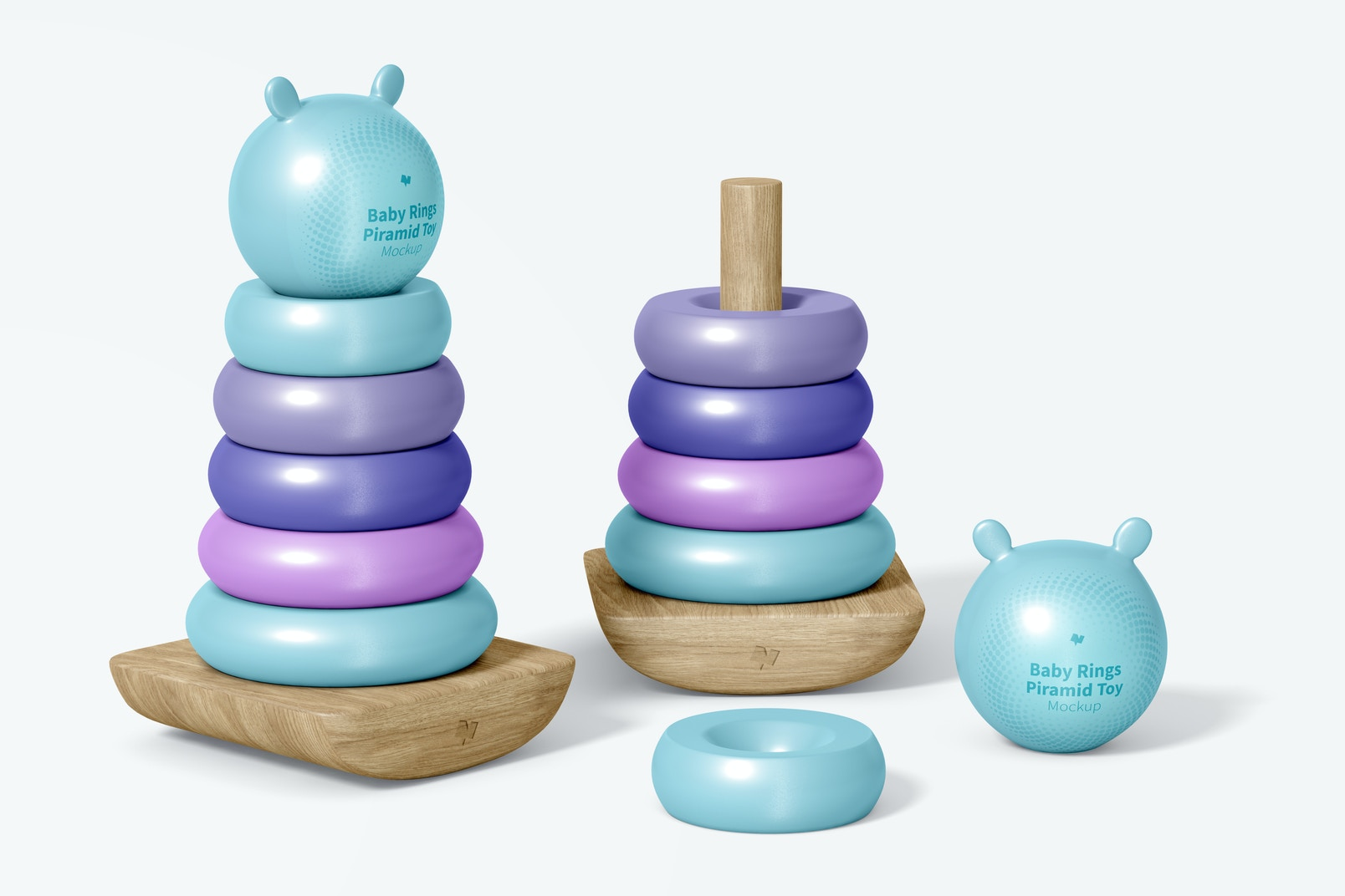 Baby Ring Pyramid Toy Mockup, Top View