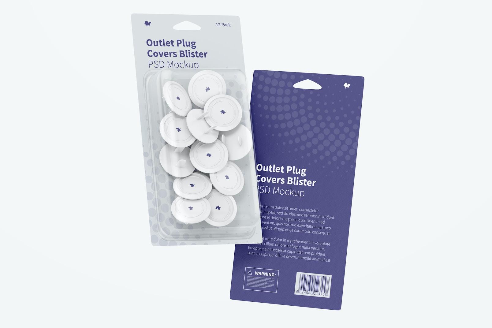 Outlet Plug Covers Blister Mockup, Floating