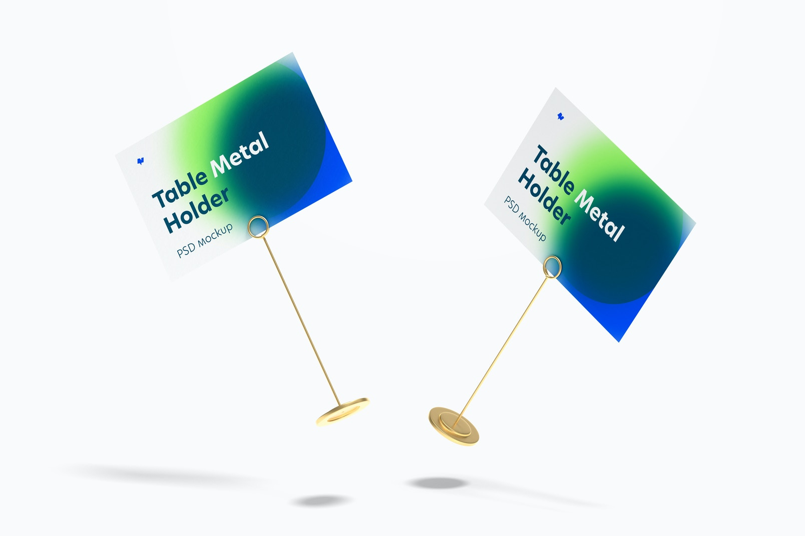 Table Stand Metal Sign Holders Mockup, Falling