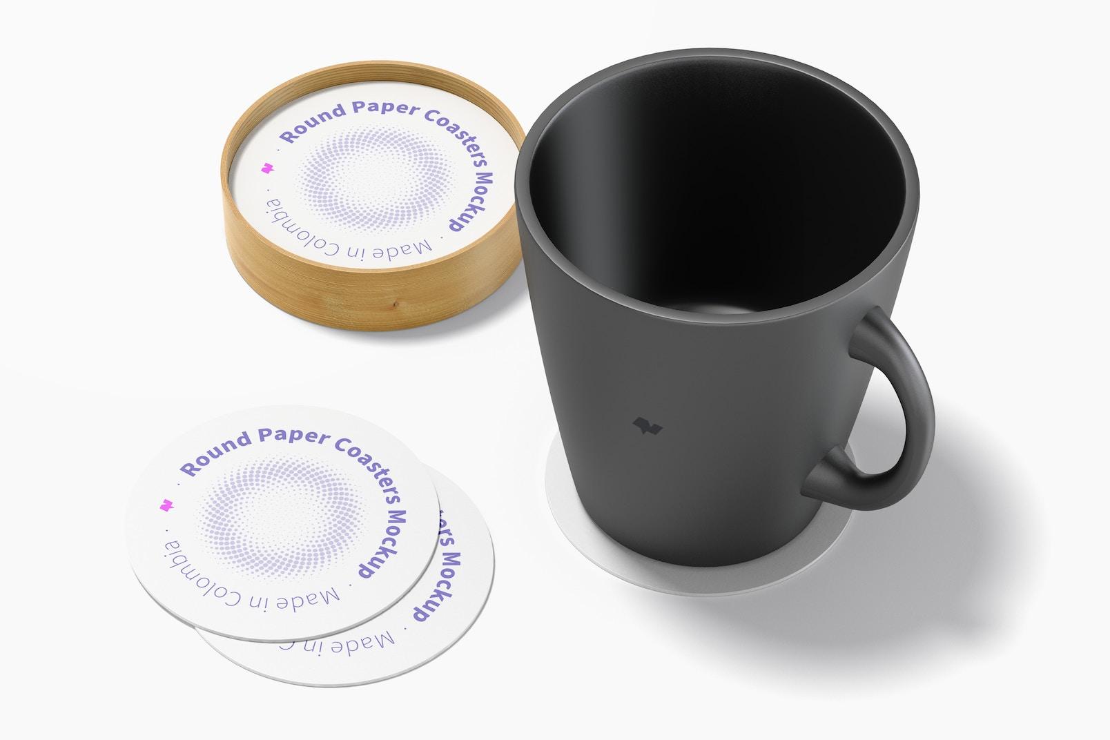 Round Paper Coasters with Mug Mockup