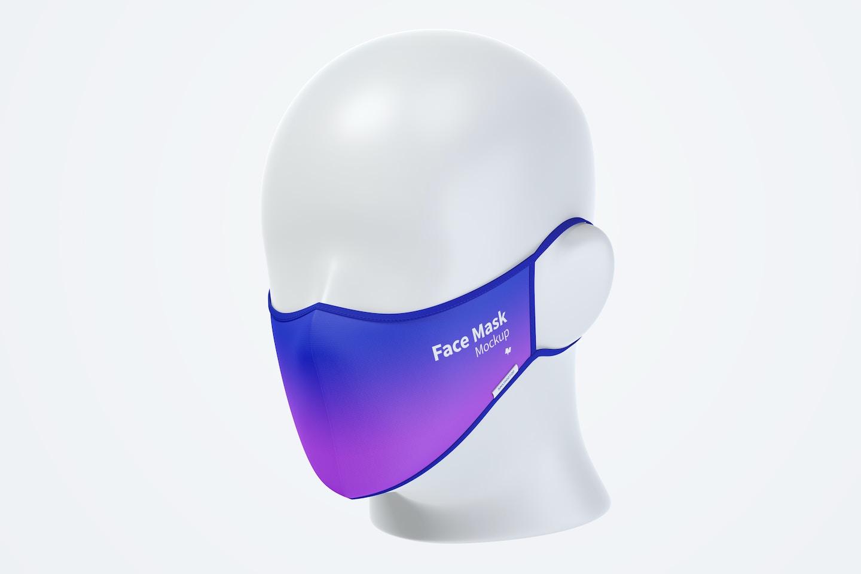 Face Mask Mockup, Half-Side View