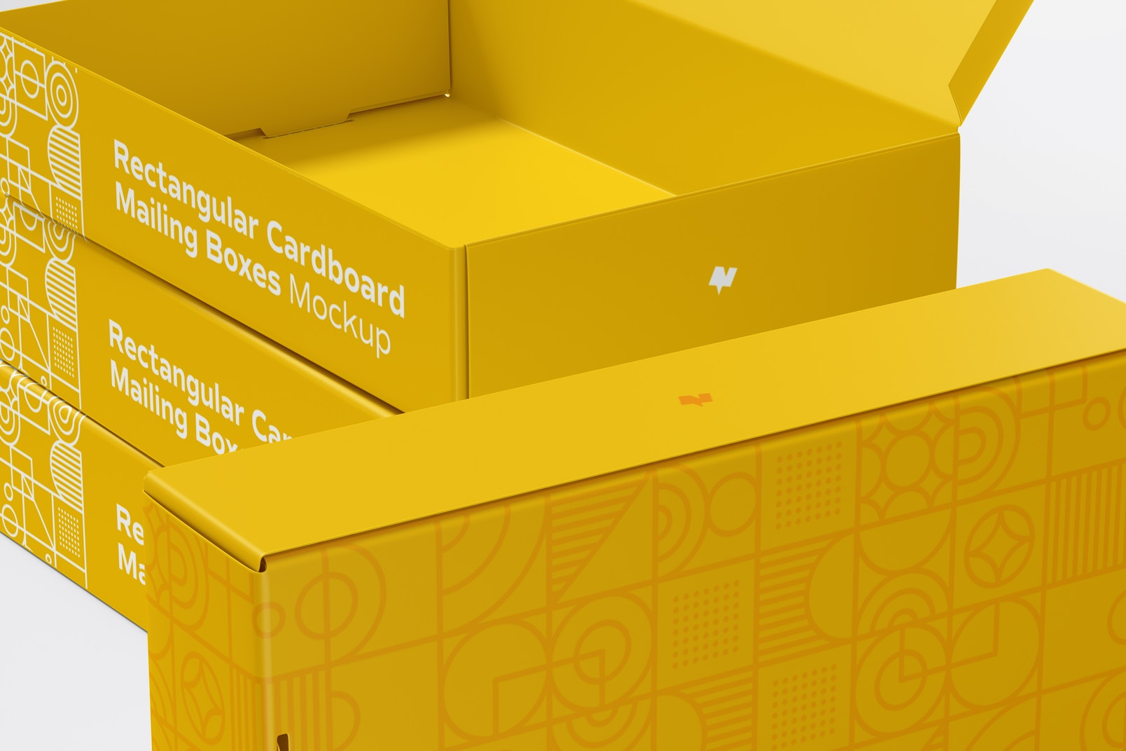 Rectangular Cardboard Mailing Boxes Mockup, Close Up