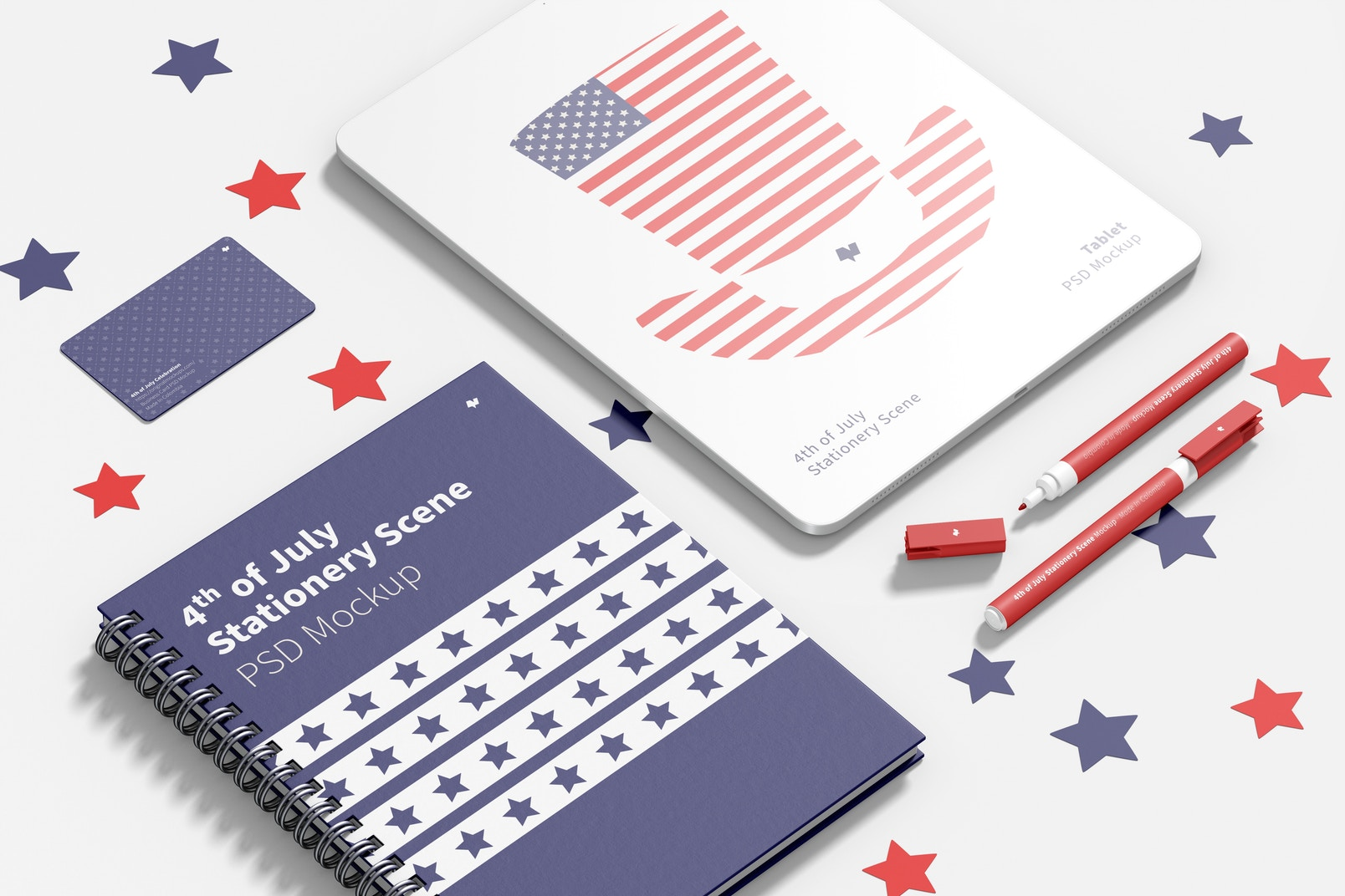 4th of July Stationery Scene Mockup, Perspective