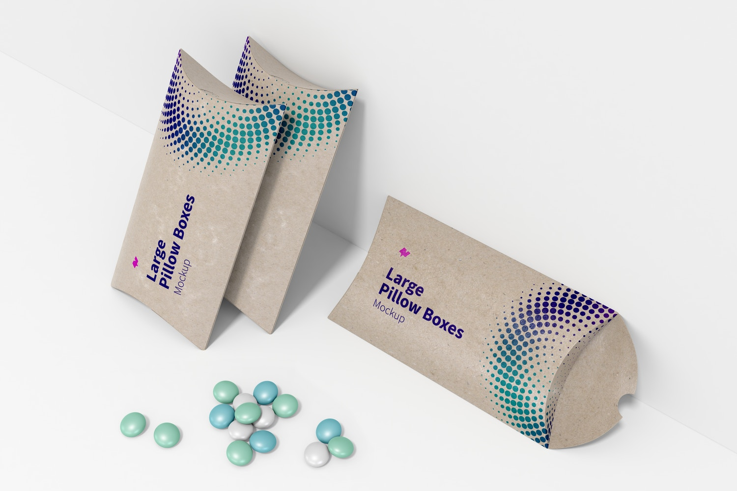 Large Pillow Boxes Set Mockup, Perspective View