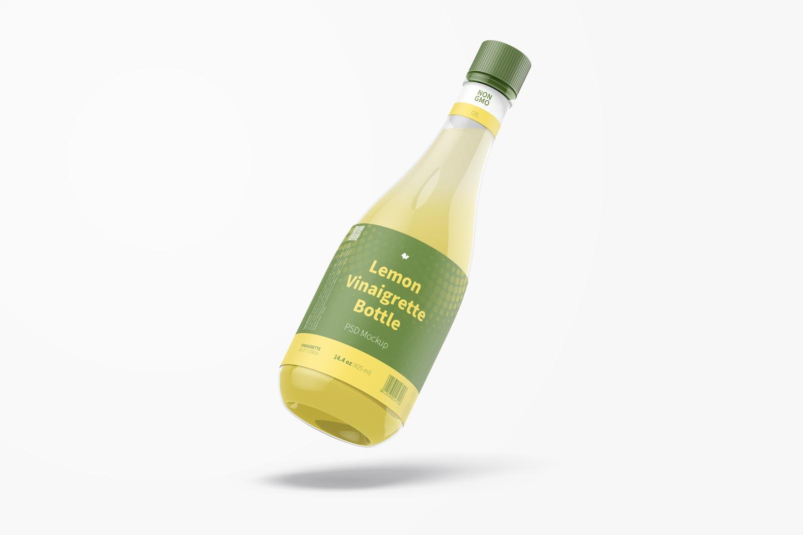 14.5 oz Lemon Vinaigrette Bottle Mockup, Falling