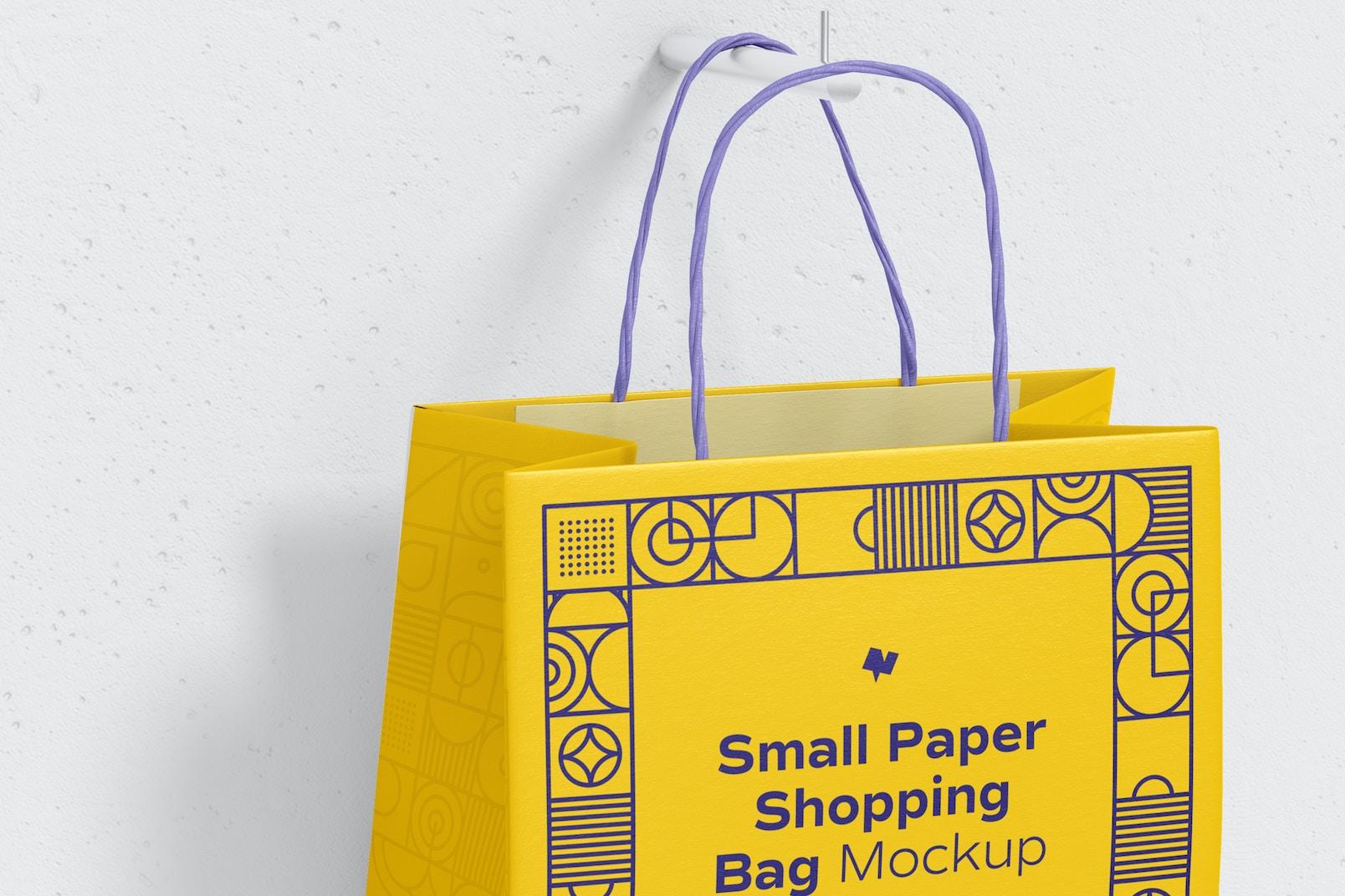 Small Paper Shopping Bag Mockup, Hanging