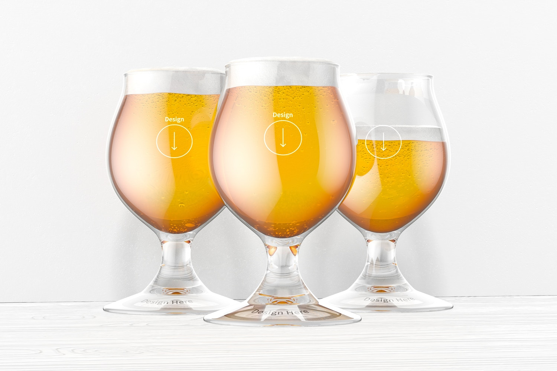 13 oz Belgian Beer Glasses Mockup, Front View