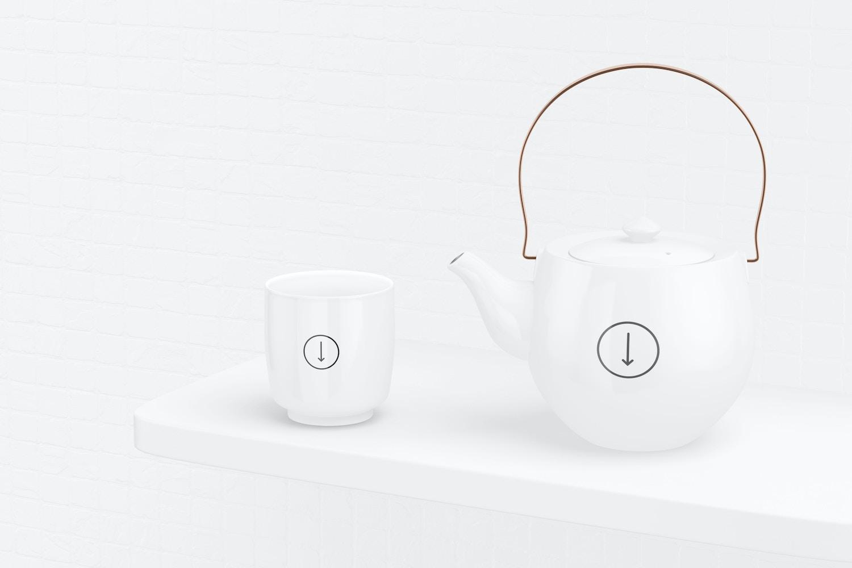 Japanese Ceramic Tea Set Mockup, Perspective View