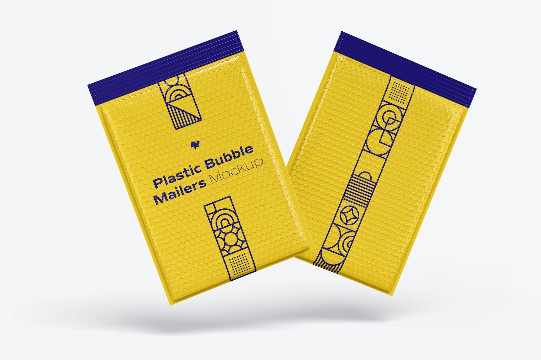 Plastic Bubble Mailers Mockup, Floating