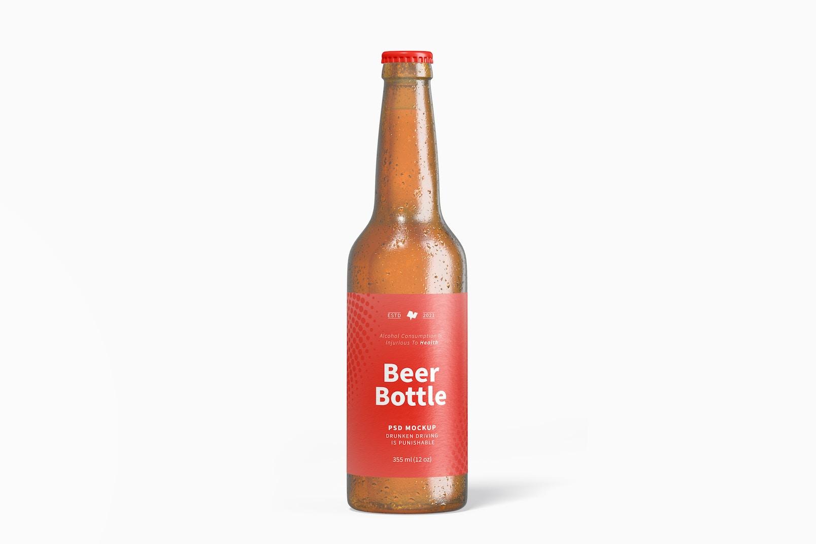 Beer Bottle Mockup, Front View